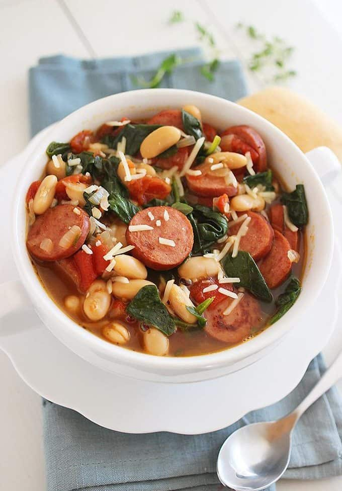 Smoked Sausage, Spinach and White Bean Soup from Comfort of Cooking