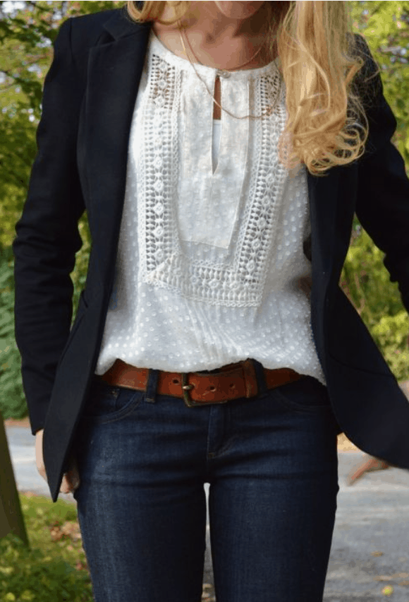 white blouse blazer dark jeans