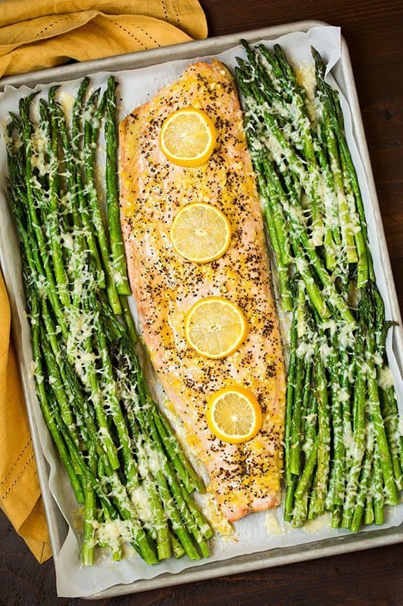 5 ways to cook salmon in tin foil   One Pan Roasted Lemon Pepper Salmon and Garlic Parmesan Asparagus