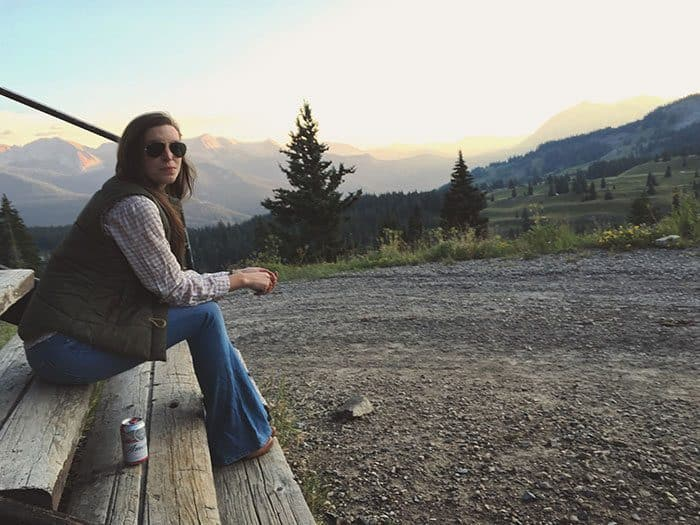 Tan flannel shirt, green vest and flares - fall look   Blue Mountain Belle