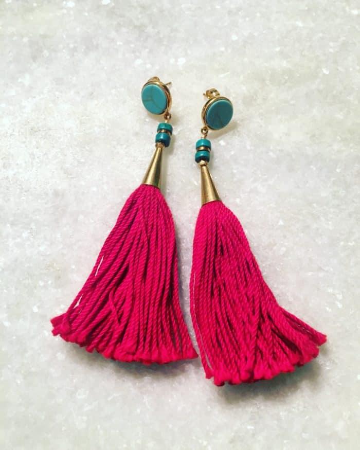 NabiandBono Red Tassel Earings