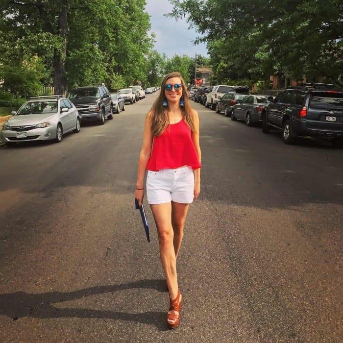 Red Tank, White J.Crew Shorts, Gigi New York Clutch