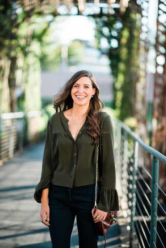Green Bell Sleeve Shirt, Dark Flares Jeans and Rebecca Minkoff Bag