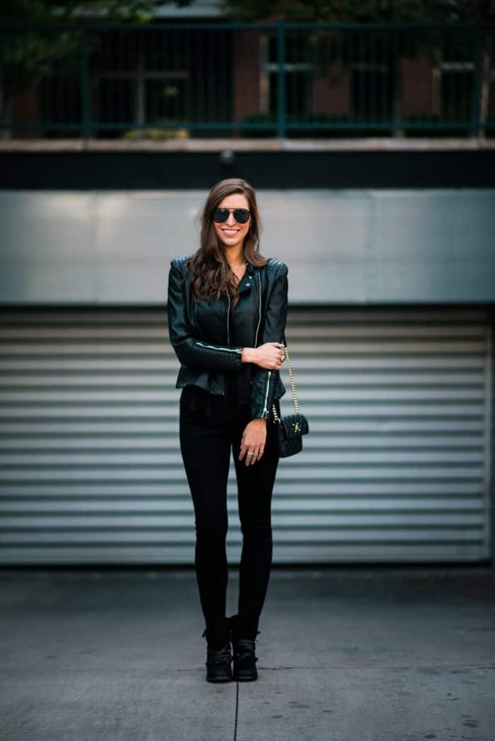 Suede Old Navy Leggings and Leather Jacket