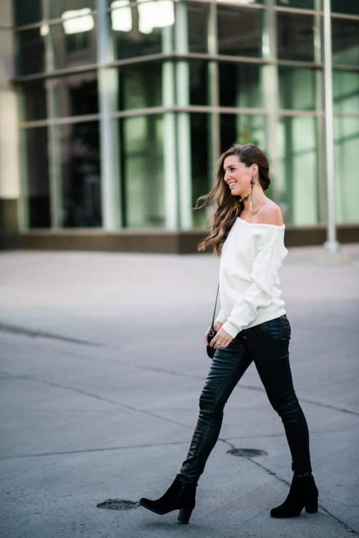 Off The Shoulder White Sweater and Leather Pants