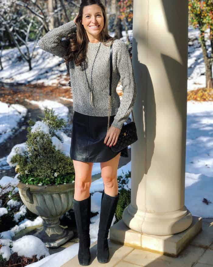 Leather Skirt with Gray Sweater and Black Wedge Boots | Blue Mountain Bellewidth=