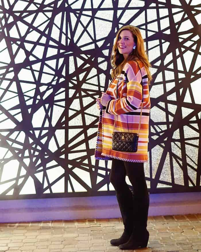 Rebecca Minkoff Colorful Aztec Coat styled by Blue Mountain Belle