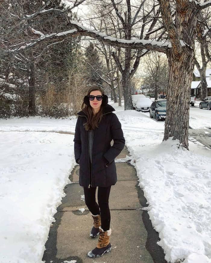 Tobi Sweater, Cole Hann Jacket, Sperry Snow boots   Blue Mountain Belle
