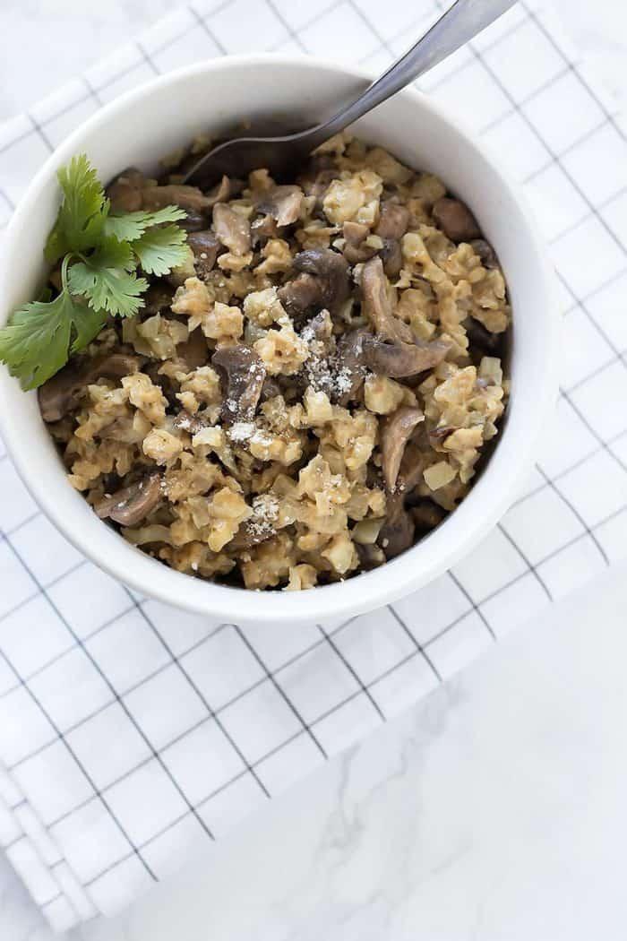 Cauliflower Mushroom Risotto from A Sassy Spoon