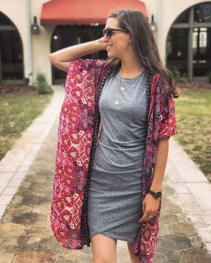 Tobi Fernanda Layered Choker & Leith Rushed Body con Dress from Nordstrom and floral Kimono | Blue Mountain Belle
