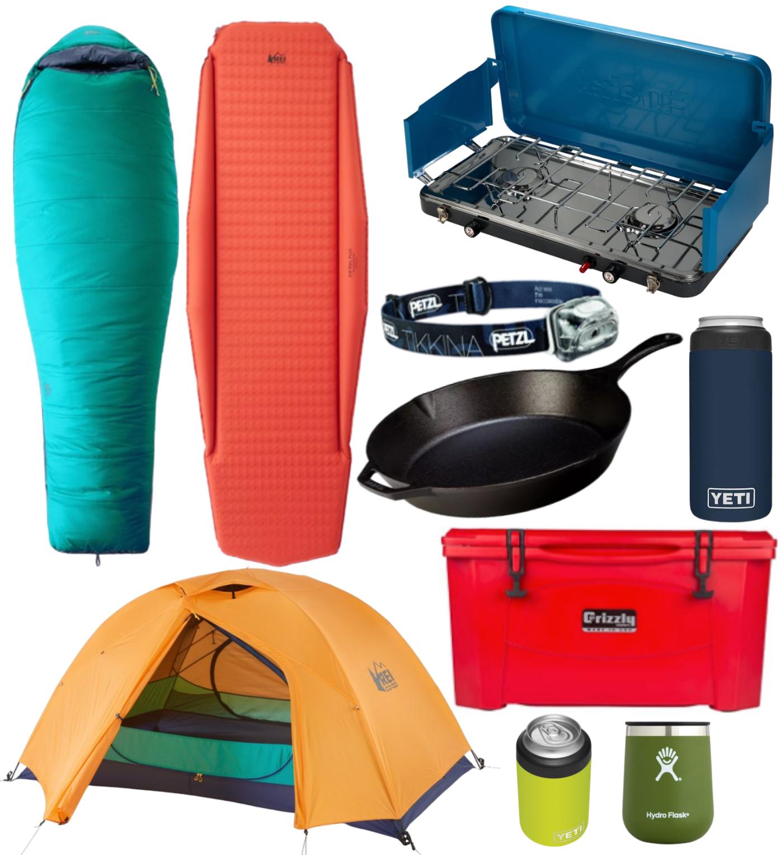 Car camping essentials collage