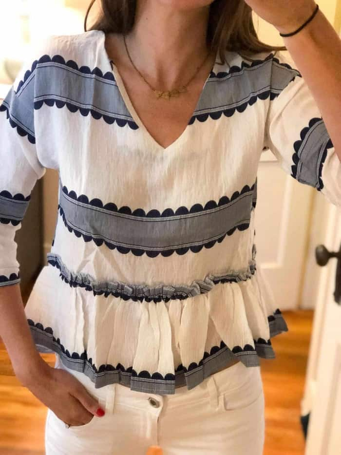 Floerns Women's Short Sleeve Contrast Print Frill Hem Blouse Top