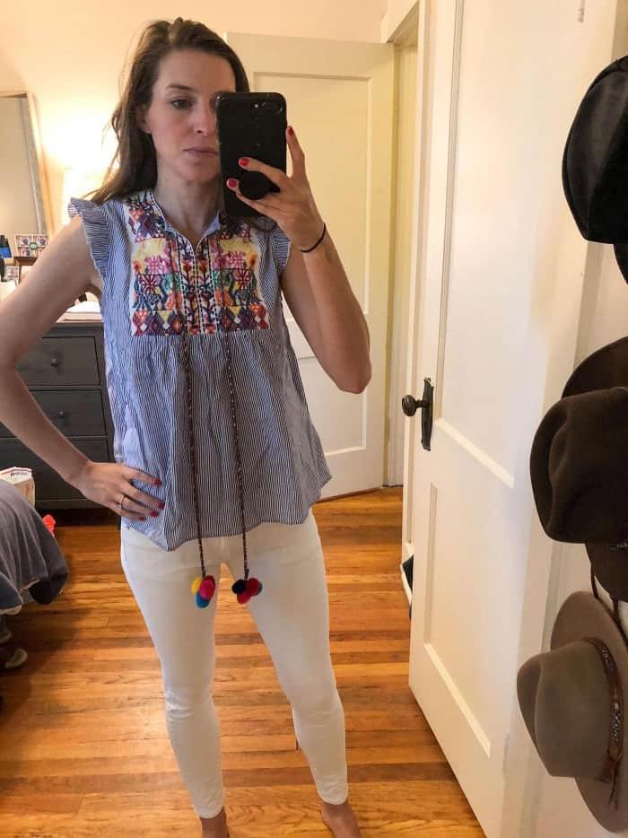 Amazon Floerns Women's Sleeveless Ruffle Striped Embroidered Pom Pom Tie Neck Blouse