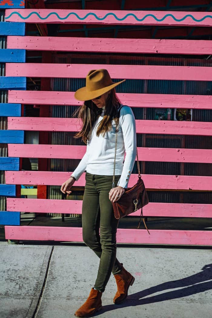 White Turtle Neck, Green Pants, Clarks Booties and Tan Hat