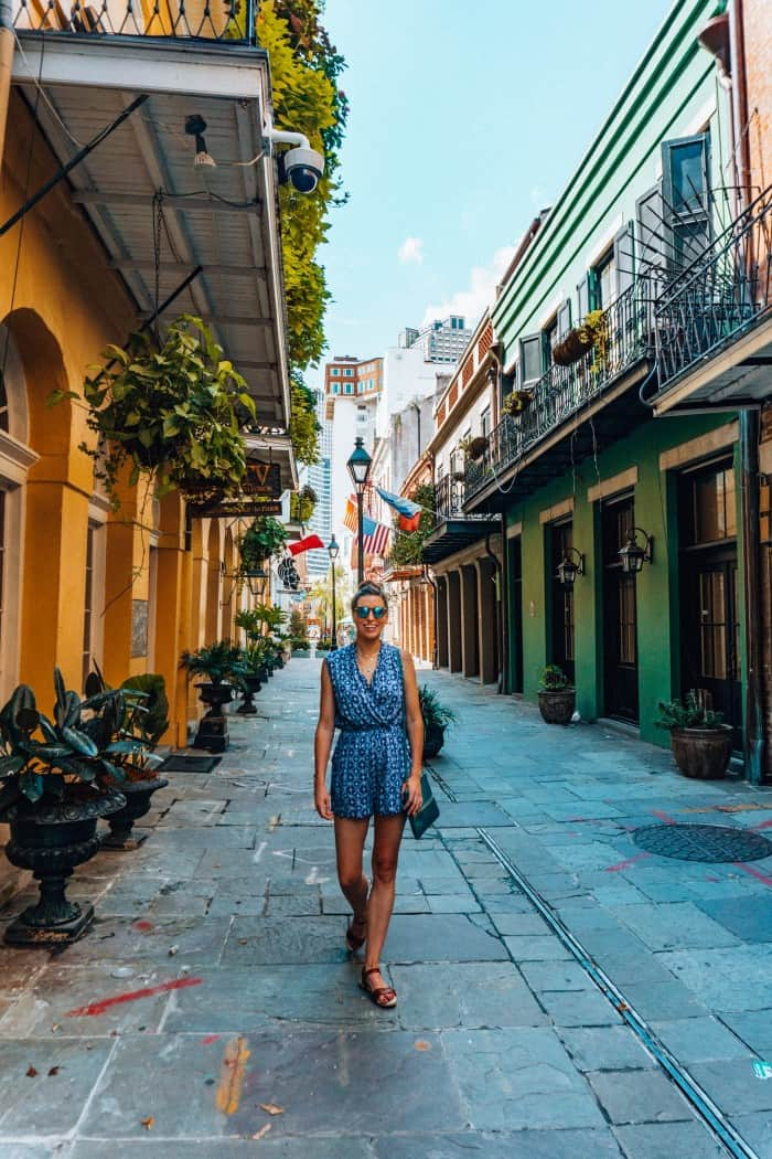 Blue Mountain Belle in a Blue Romper in New Orleans