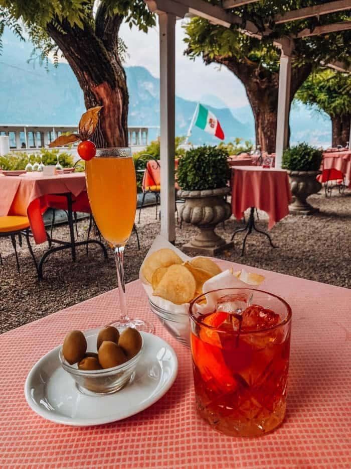 Drinks at Restaurant de l'hotel Florence in Bellagio
