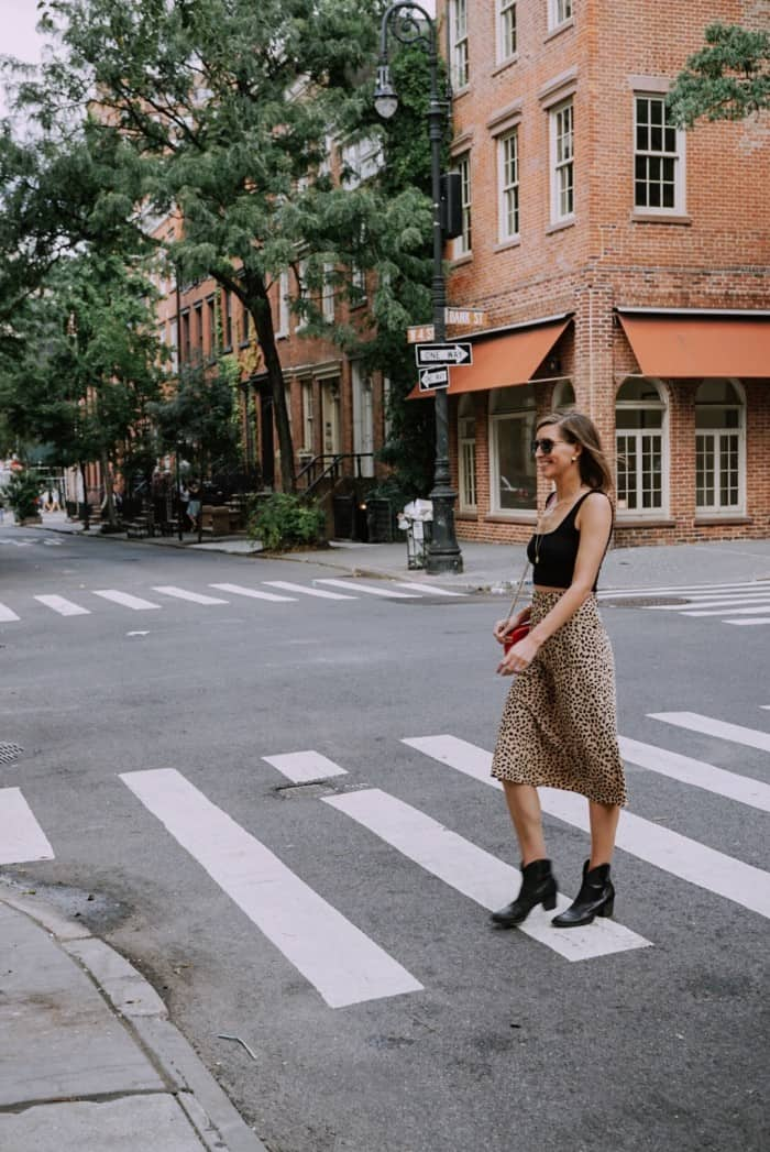 Blue Mountain Belle at NYFW in Leopard Mid Skirt and Crop Top