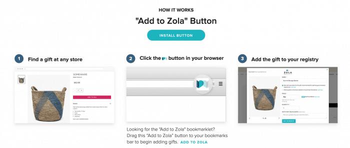Zolo Wedding Registry Site Screenshots
