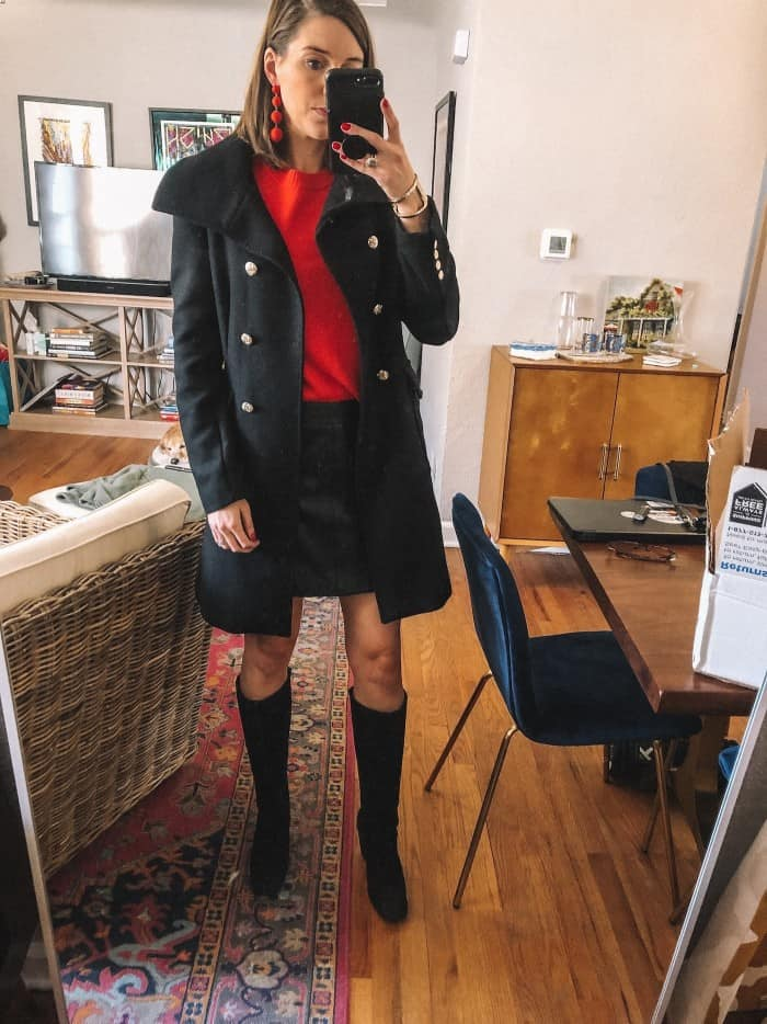 Holiday Look - Red sweater and BB Dakota Leather Boot with Wedge Boots