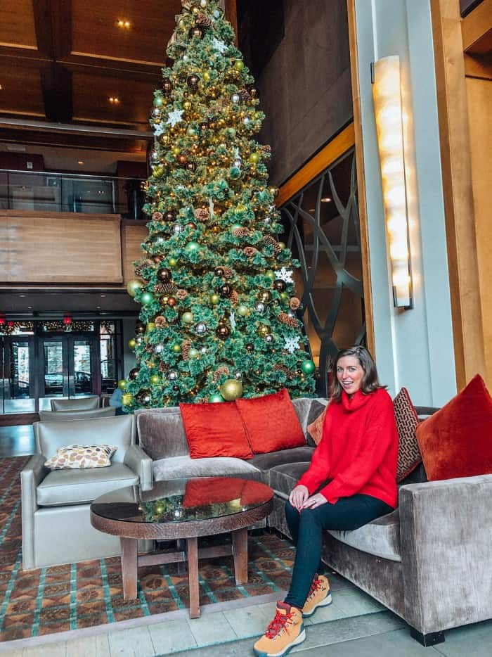 Red Cowl Neck Sweater, Good American Pants and columbia red lace boots in Beaver Creek