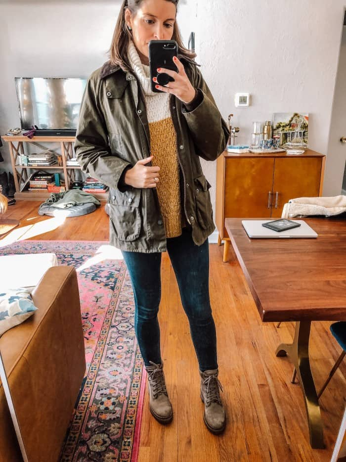 Blue Mountain Belle in two tone sweater with barbou jacket and timberland boots