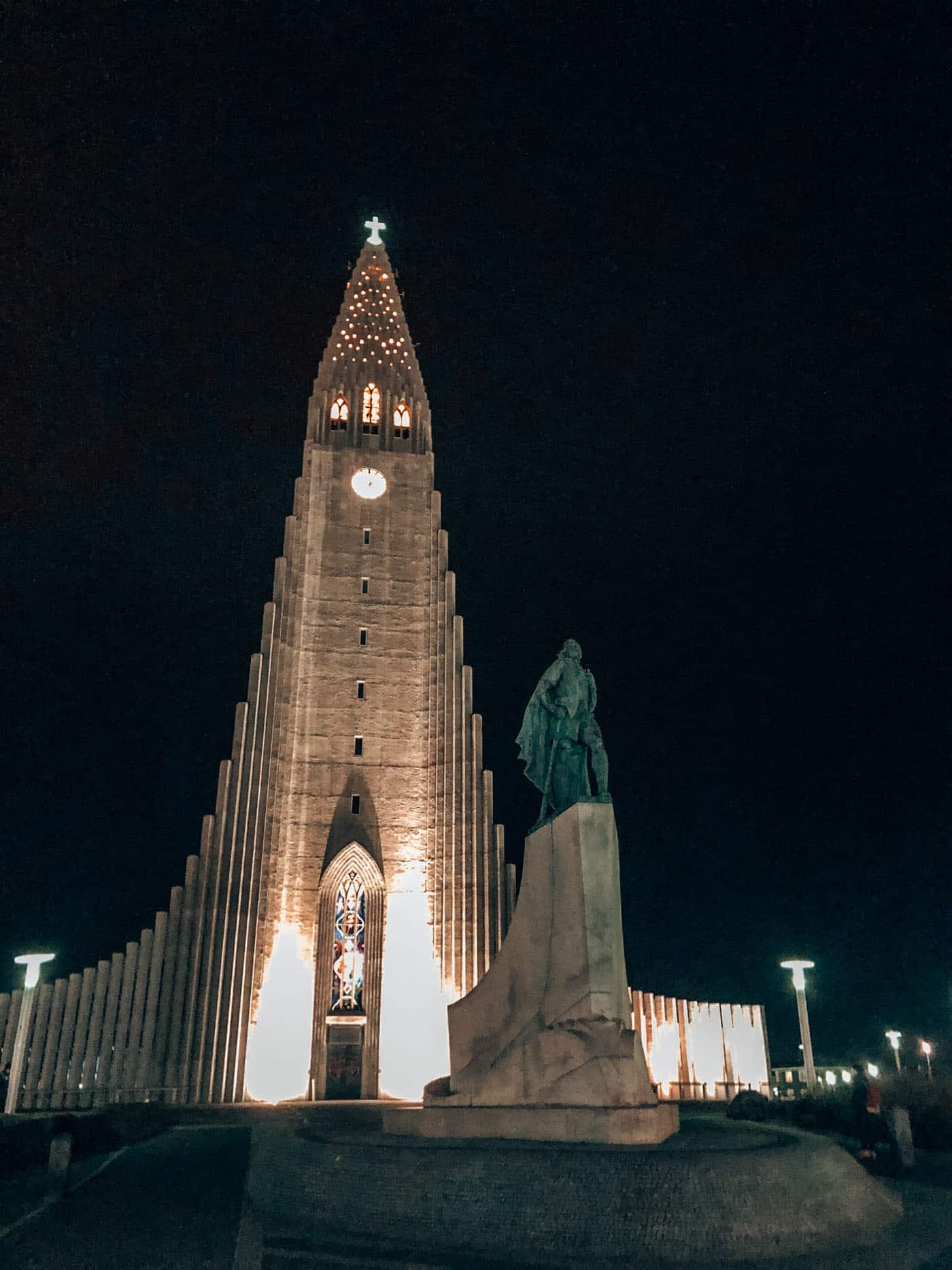 Church at night in Reykjavik