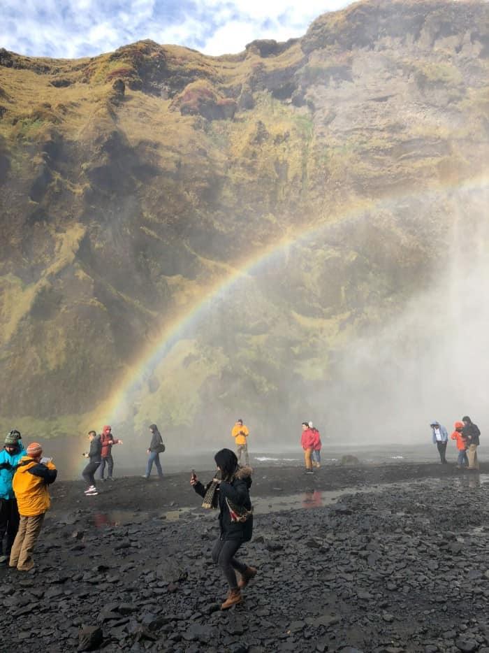 Full Rainbow at Skogafoss Waterfall in Iceland