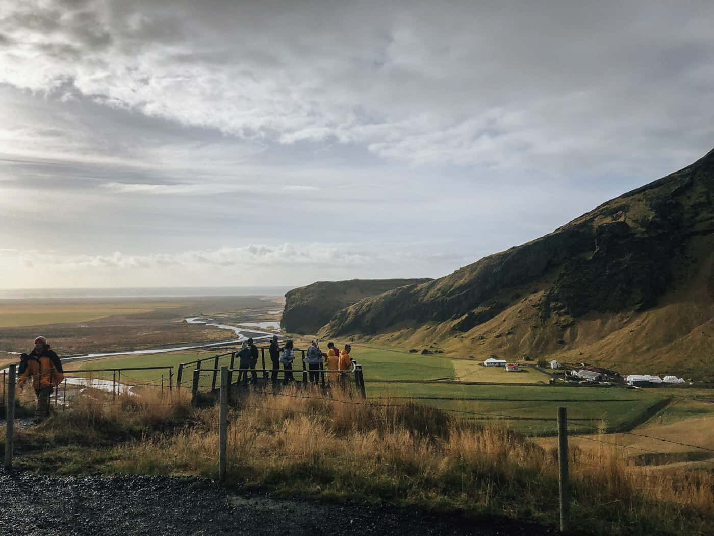 View from the top of Skogafoss Waterfall in Iceland