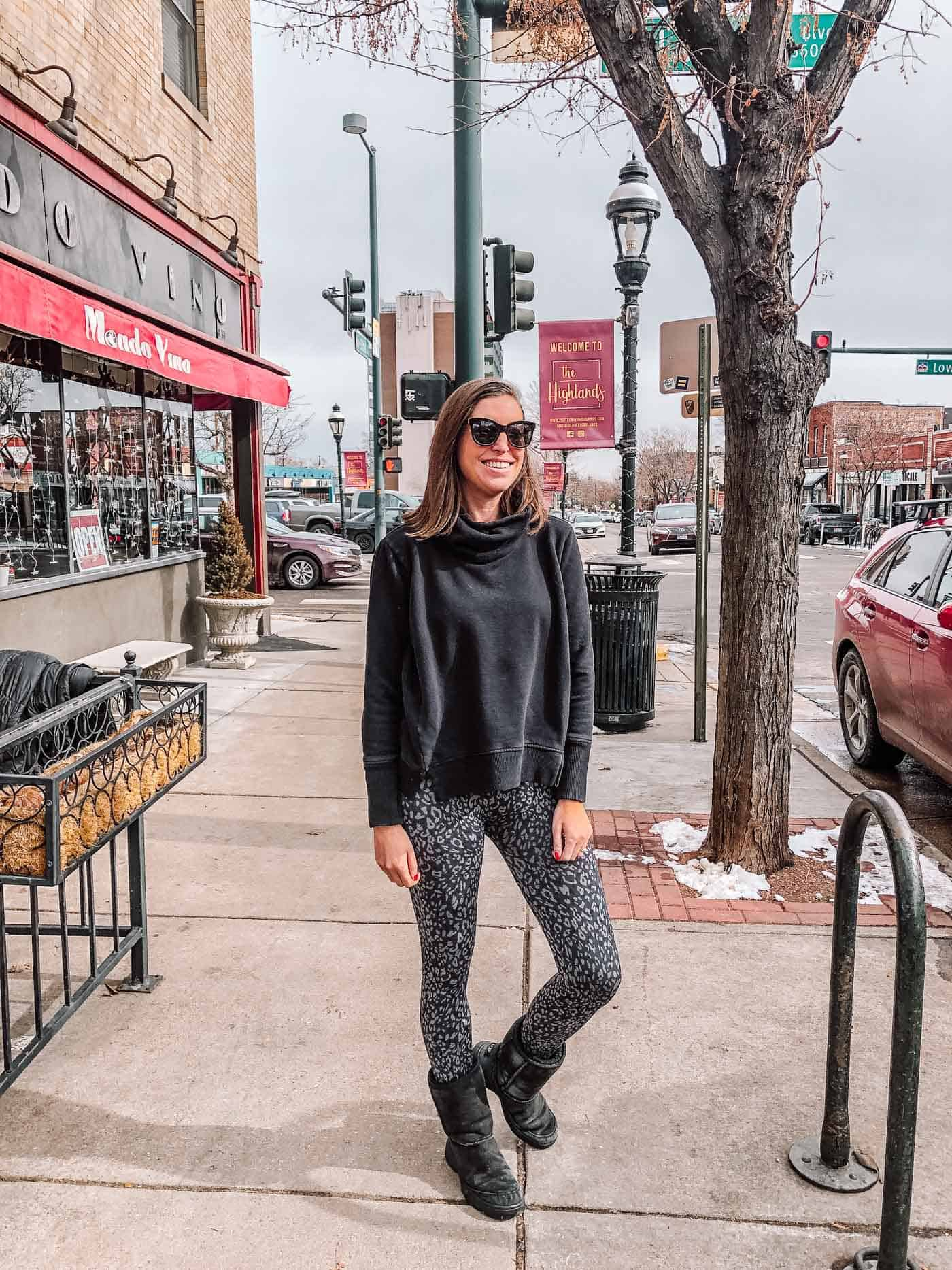 Spanx Leopard Print Look At Me Now Seamless Leggings with Black Pullover and Uggs