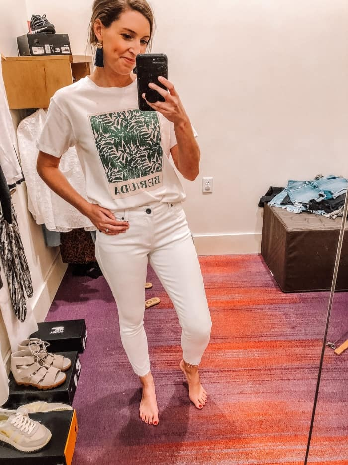 Kut Petite High Waist Connie Ankle Skinny with Bermuda Tee from Evereve