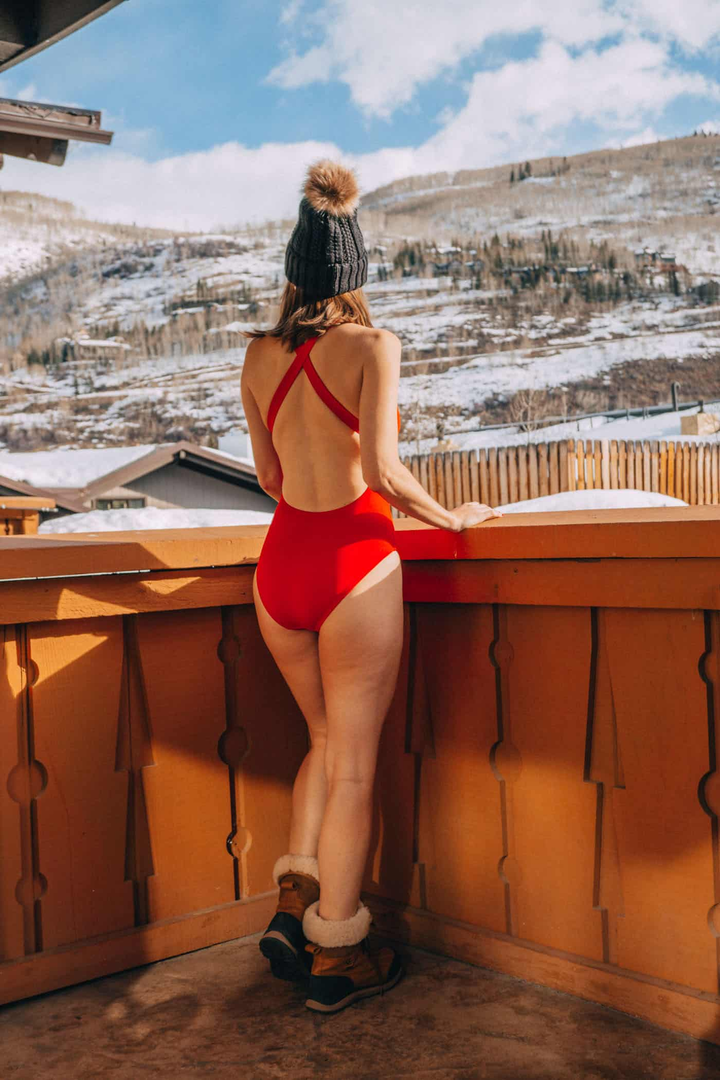 Andie Swim Tulum Cherry Red on Blue Mountain Belle in Vail Co