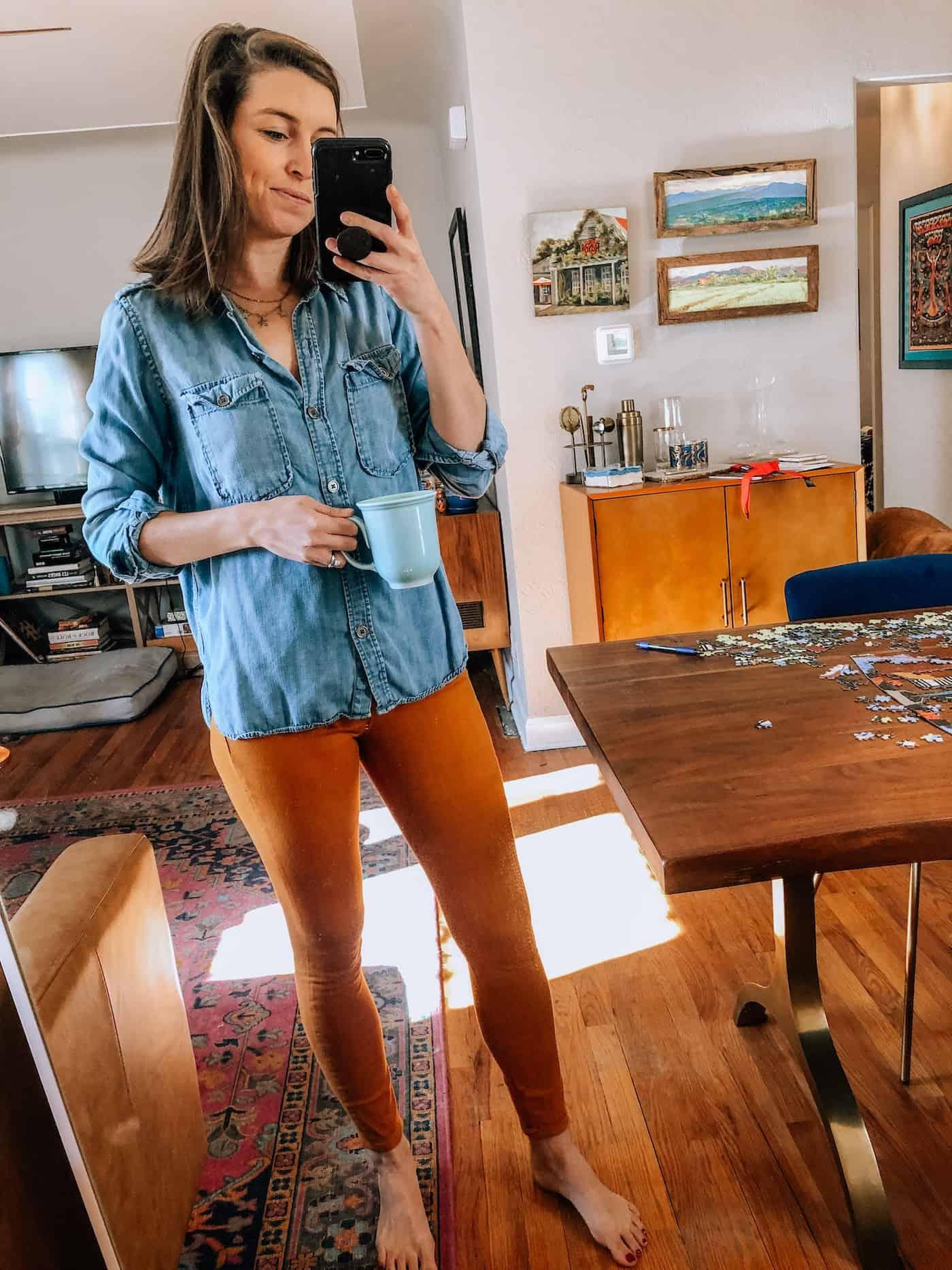 WFH look - Chambray Shirt and Old Navy Burt Orange Pants