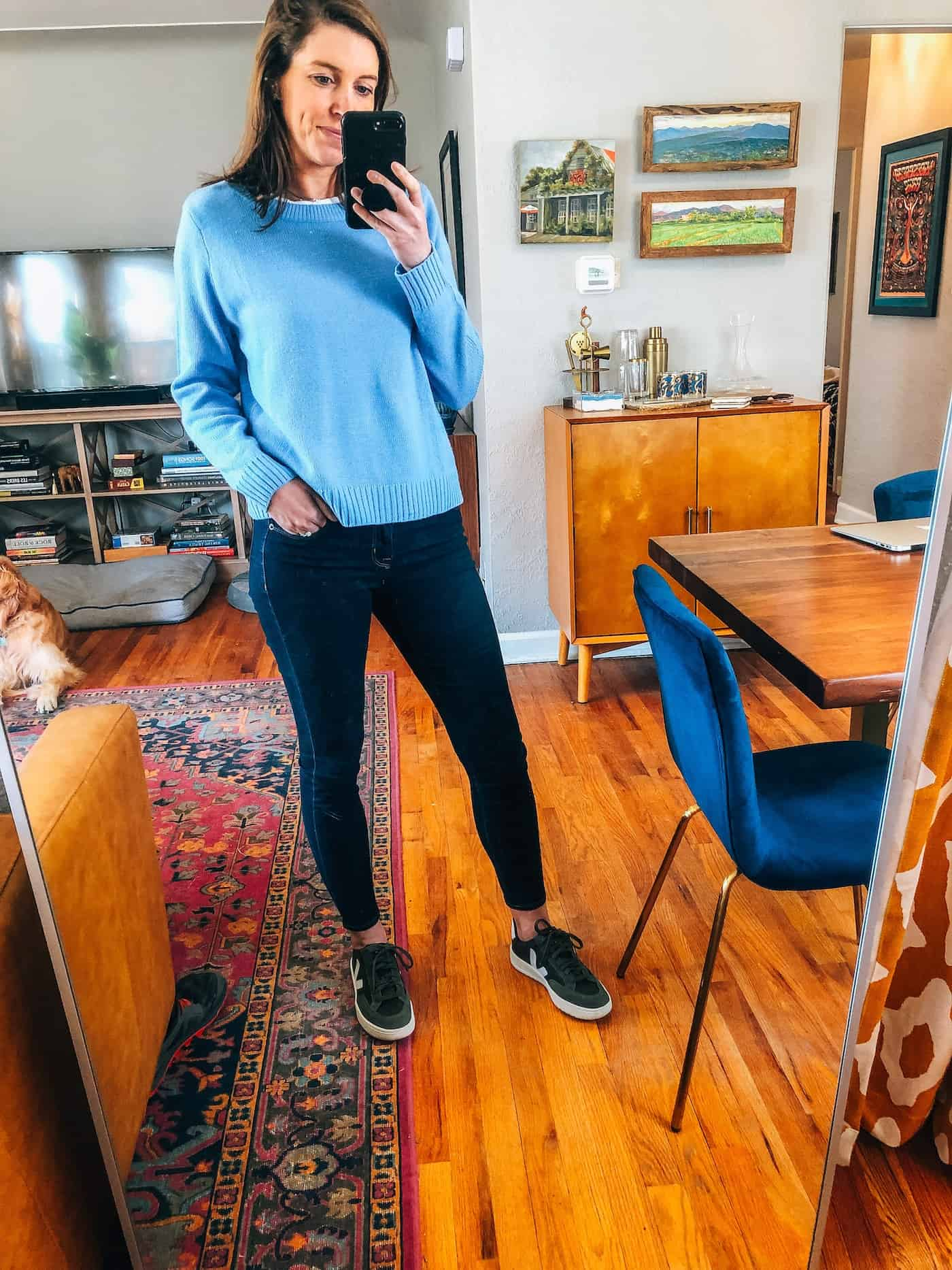 Baby Blue sweater and dark blue jeans