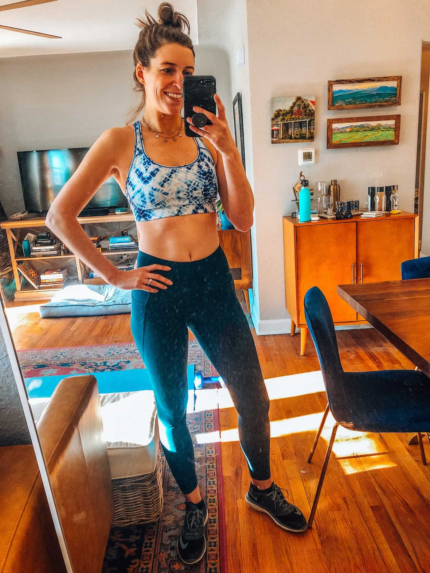 Workout Look - Tie Dye Bra and Old Navy Power Soft Leggings
