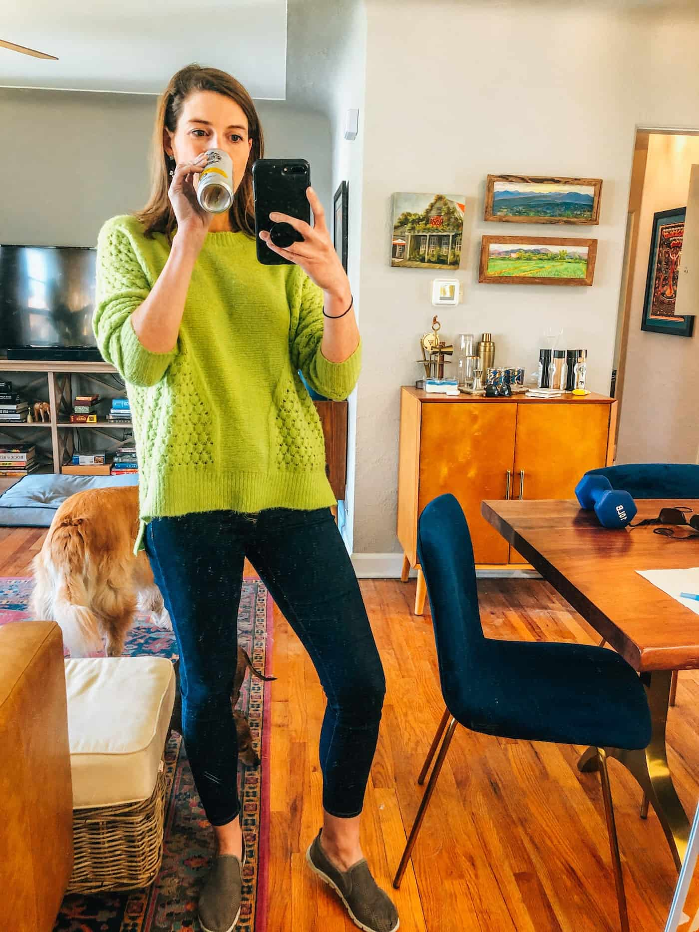 Evereve Neon green sweater and dark jeans
