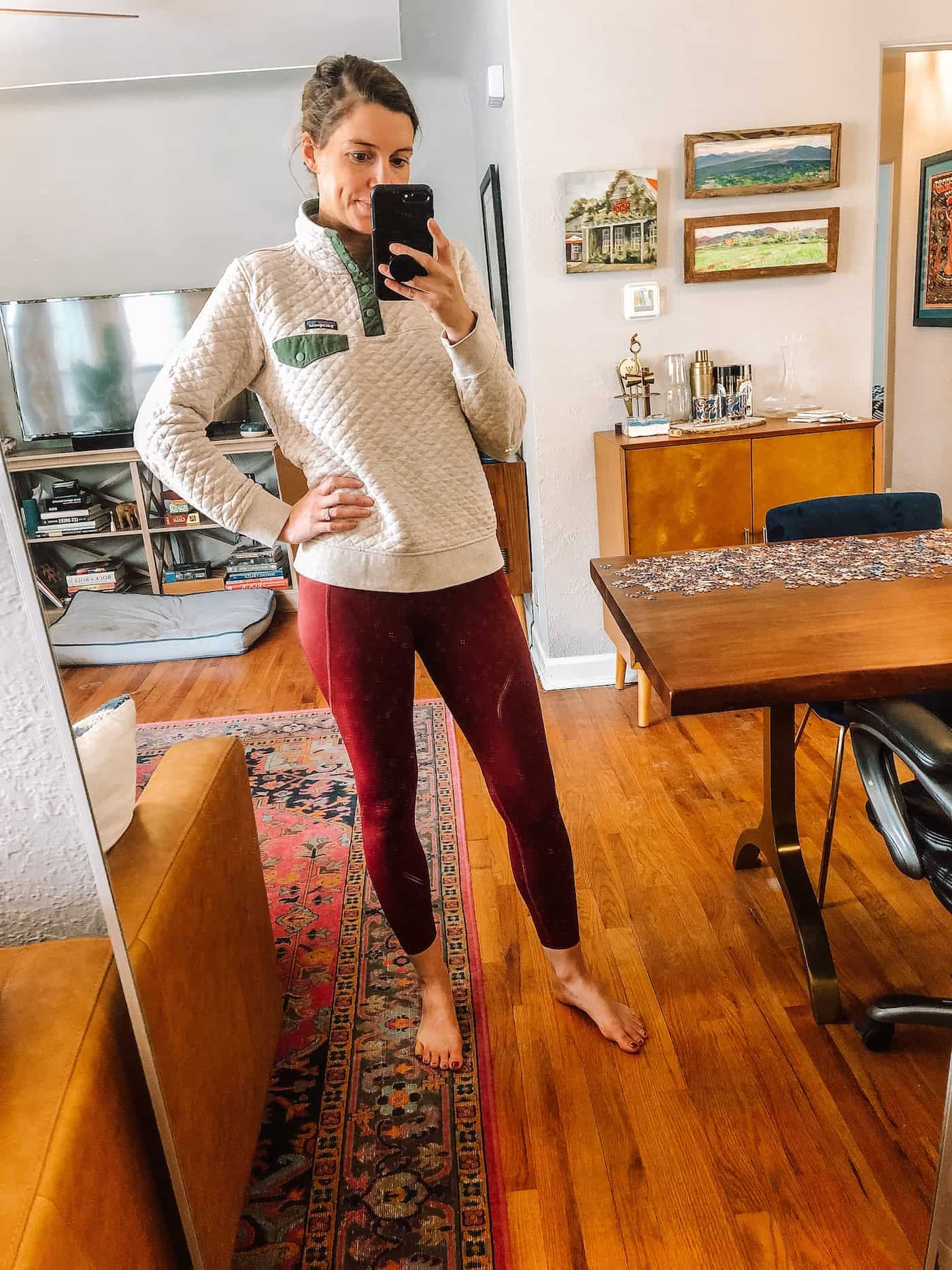 Patagonia Pullover and Old Navy Leggings