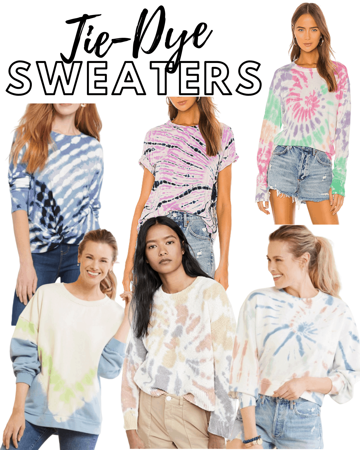Tie dye sweater collage