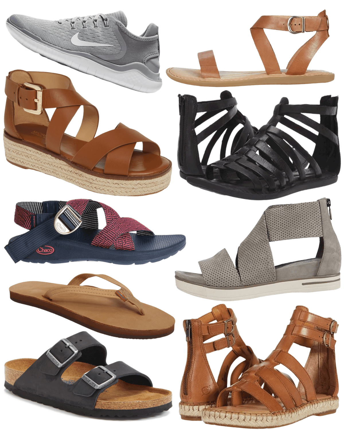 Collage of my favorite summer sandals