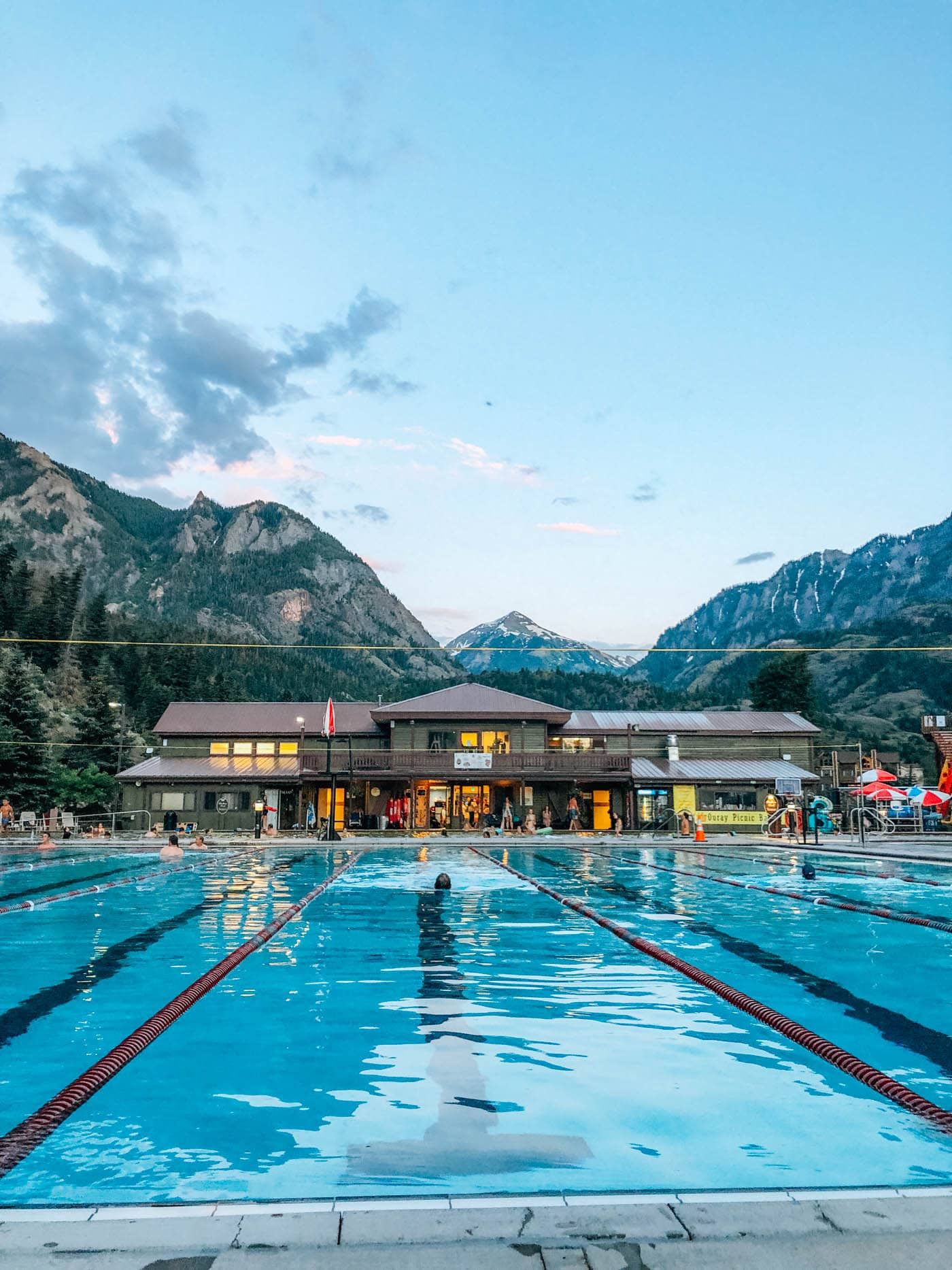 Ouray Hot Springs Swimming Pool with mountains in background