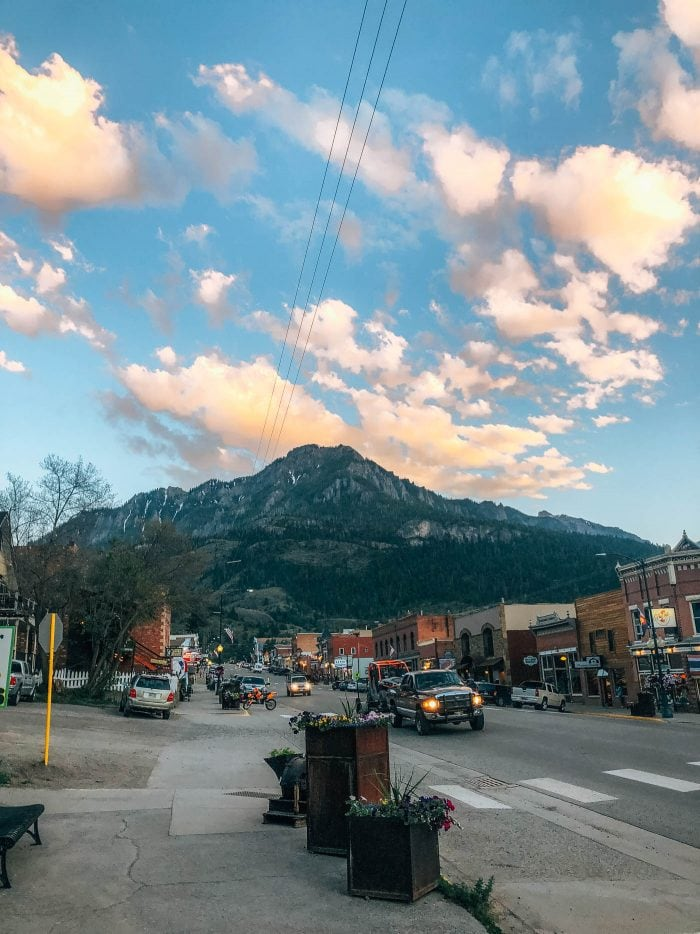 Golden Hour looking down Main street in Ouray