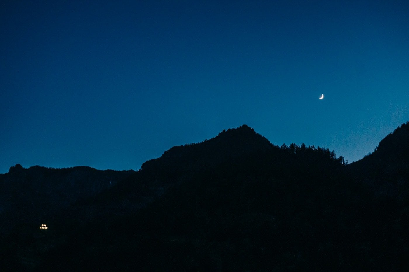 Night shot of the box canyon sign in Ouray Colorado