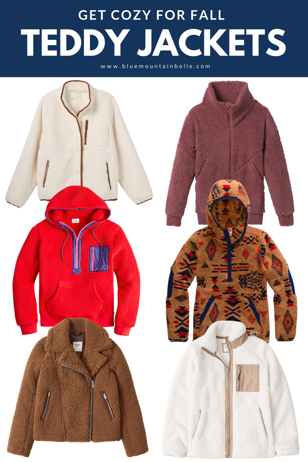 Collage of 6 womens teddy jackets