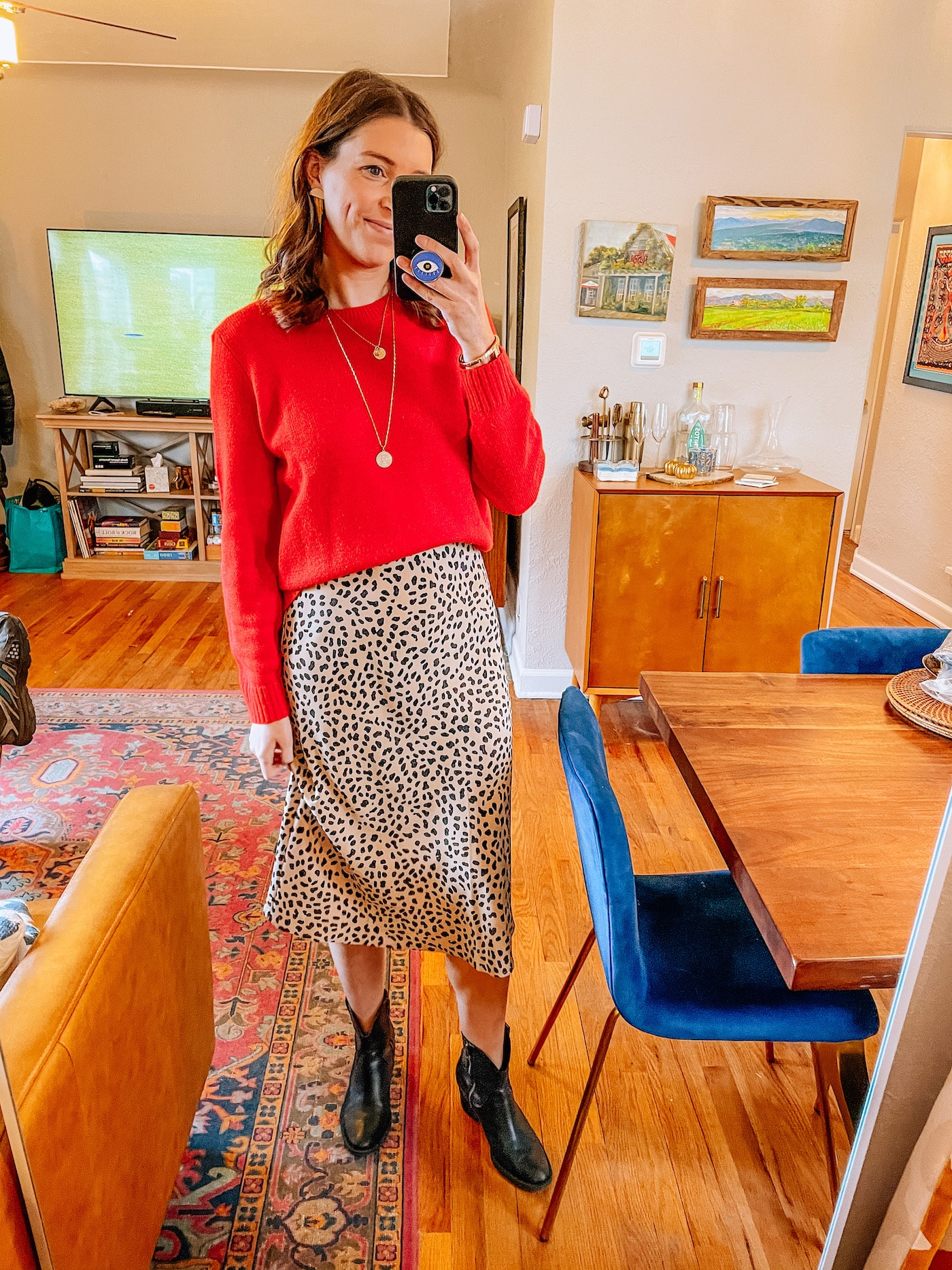 Red Sweater + Leopard Print Midi Skirt - Holiday Look
