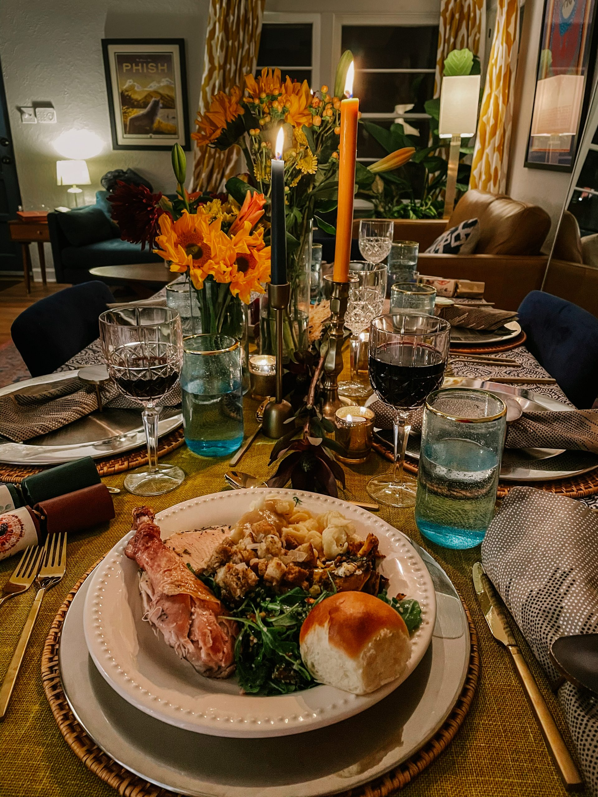 Friendsgiving tablescape and plate full of food